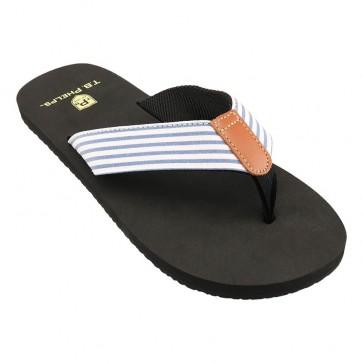 Navy Blue Seersucker Newport Sandals