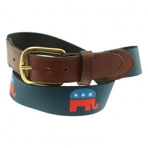 Political Party Republican Pattern Allagash Leather Tab Belt